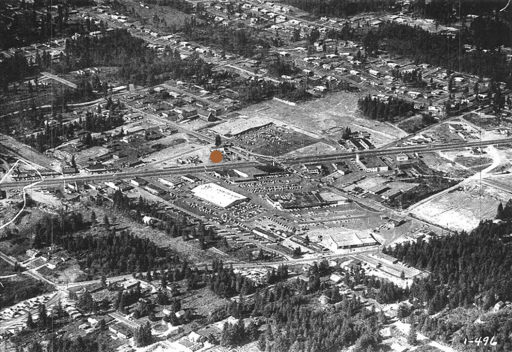 1959 aerial photo of the property and intersection